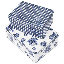 Set of 2 Katie Alice Blue Cake Storage Tins Containers Biscuit Birthday Cupcake