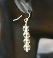 Citrine Light Yellow Ball Gemstone Earrings 925 Sterling Silver French Wire Hook