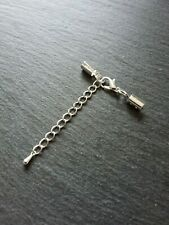 6 sets Silver Plated Crimp Ends for 4mm to 4.5mm Cord, 12mm Clasps & Extender UK