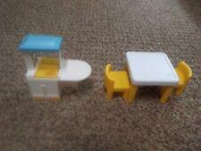 Vintage Little Tikes Dollhouse Furniture Kitchen Set: Kitchenette Table Chairs