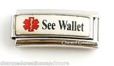 See Wallet Caduceus Medical Alert 9mm Italian Charm Superlink For Your Bracelet