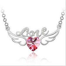 Fashion Womens Heart Love Pink Crystal Rhinestone Silver Chain Pendant Necklace