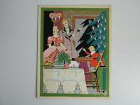 Incisione Antica Colorato A Stencil Firmato Gaudin Diner Di Natale C.1930