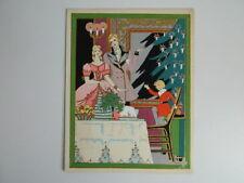 Gravure ancienne coloriée au pochoir signée GAUDIN diner de Noêl c.1930