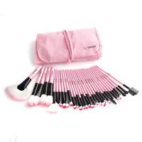 32Pcs Lady Pro Pink Soft Cosmetic Eyebrow Shadow Makeup Brush Tool Set Kit Bag