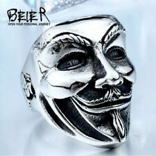 Punk Top Quality Stainless Steel Biker Rock Ring For Men V for Vendetta 3 Colors