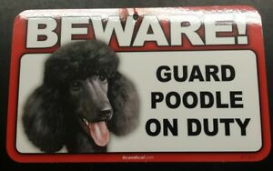 Laminated Card Stock Sign- Beware! Guard Poodle (Black) On Duty