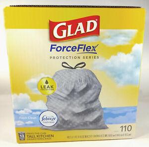 Glad Force Flex Febreze 13 Gal Tall Kitchen Drawstring Trash Bags (110 Bags)
