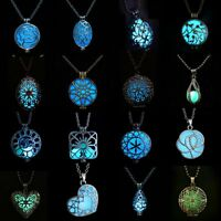 Silver Luminous Steampunk Magic Fairy Locket Glow In The Dark Pendant Necklace