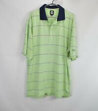 FootJoy Mens XL Athletic Fit Short Sleeve Collared Golf Polo Shirt Green Striped