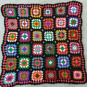"Handmade Crochet Afghan Granny Squares Blanket Throw Vintage Small 29"" X 29"""