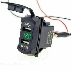 Dual USB Charger Socket Boat Car LED with Voltage Voltmeter Rocker Switch Panel