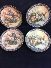 """4 Lena Lui Limited Edition Collectable 8"""" Plates Pansies Roses Basket Bouquets"""