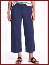 Women's Old Navy Navy Blue Wide Leg Ankle Chino Pants, Size 6 Tall