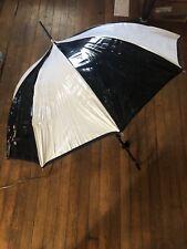 Fabulous Black And White Vinyl Umbrella. 32 Inches. 1960-70s Metal Shaft