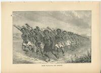 ANTIQUE NEW ZEALAND TRIBAL TRIBE MAORI WAR DANCE RIFLES SAND DUST OLD ART PRINT