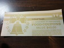 FOOD STAMP COUPON $40.00 book full of $5 coupon 1997 b  MONTH CODE D UNC GEM