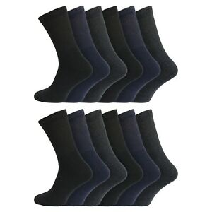 Mens 12 Pairs Non Elastic Soft Cotton Rich Thermal Socks UK 6-11 - BLK/NVY/GRY