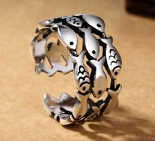 925 Sterling Silver Adjustable Fish Ring