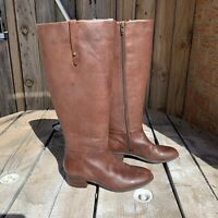 Crown Vintage Aubrie Brown Leather Knee High Riding Boots Womens Size 6.5M