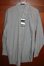 Business Shirt Multi Color Checkers Size L Men WRINKLE RESISTANT River's End NWT