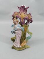 C329 Figürliche handbemalte Porzellan Vase Jugendstil Figur Schönheit Blüte