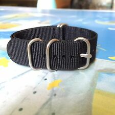 Rings Buckle 16mm 18mm 20mm 22mm 24mm Nylon Watch Black Strap watchband Woven