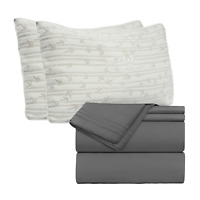 Set of Egyptian Comfort 4 Piece Bed Sheet Set & 2 Hypoallergenic Bamboo Pillows