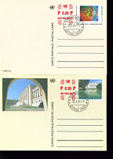First Day UN Geneva Office Postal Card - Scott# UX11-12  SCV$ 8.00