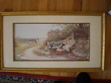 VINTAGE WALL PICTURE ART Gilded  FRAME WOMAN IN THE GARDEN WITH CAT  WINDSOR ART