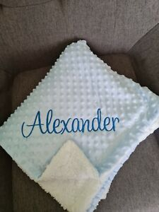 Personalised blue Baby Wrap Blanket Bubble Dimple Mink