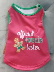 NEW Official Cookie Taster Christmas Pet Dog Puppy Pajama shirt (S) so cute!