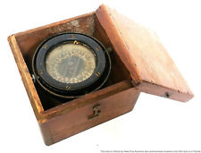 Antique Maritime Gimbal Nautical Ship Compass In Original Wood Case Box