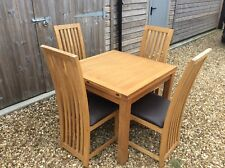 Laura Ashley Light Oak Dining Table Extendable With 4 Oak and Leather Chairs