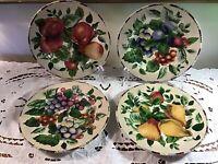 "Oneida Sakura Sonoma Salad Plate 8-18"" Beige Stoneware Fruit Pattern - Set of 4"