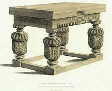 c1600 Table at Leeds Castle, Kent - 1834 Henry Shaw Copper Engraved Print