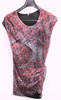 T25-3 IRO Mini-Kleid Stretch Mesh gerafft rot schwarz grau
