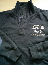 Mens Grey Button Neck Warm Fleece Lined Jumper Size M Medium