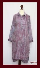 Agasthy - Light blue and maroon batik hand dyed long shirt dress / top.