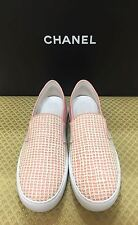 CHANEL BEIGE PINK LEATHER CC SLIP ON TRAINER SNEAKERS EU 39