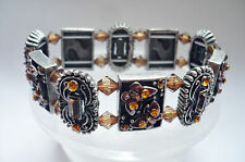 Design Armband Strass hochwertg elastisch Metall Schmuck bernstein silber NEU