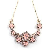 Fashion vintage pink flower crystal diamonte necklace pendant