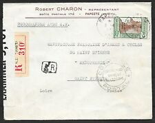 French Oceania covers 1941 censored R-cover Papeete to Saint Etienne