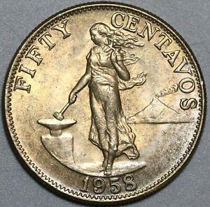 1958 Philippines 50 Centavos Choice BU US Design Coin (21031201R)