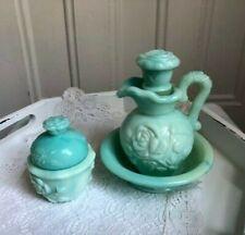 Avon Pitcher and Bowl with Still-FullPowder Jar Blue Green Milk Glass
