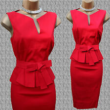 Karen Millen Signature Cotton Red Peplum Bow Cocktail Office Pencil Dress 10 UK