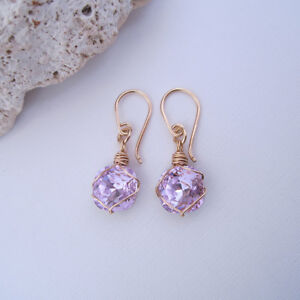 Handmade Handcrafted Pale Amethyst Purple Crystal 14k Gold Filled Drop Earrings