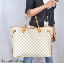 LOUIS VUITTON NEVERFULL GM DAMIER AZUR LEATHER TOTE SHOULDER BAG HANDBAG PURSE