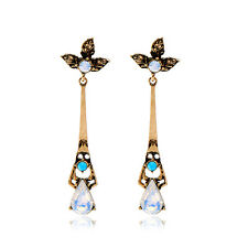 Boucles d`Oreilles Clous Doré Long Feuille Opale Perle Turquoise Fin Leger AA16