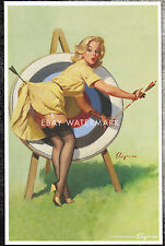 "1950's Elvgren Authentic Pin-Up Poster Art Print Archery ""Right On Target"" 11x17"